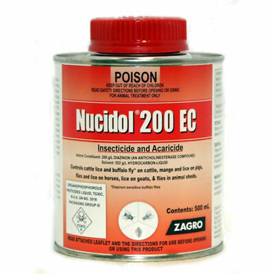 Zagro Nucidol 200 EC 500mls Insecticide Control for Cows Horses Pigs & Goats