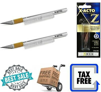 2-Pack X-ACTO Precision Knife Z Series With Safety Cap Fine Point Blade