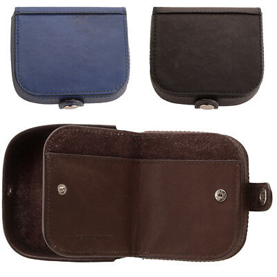 Mens Premium Grade Leather Tray Coin Purse with Note Section Black Blue Brown