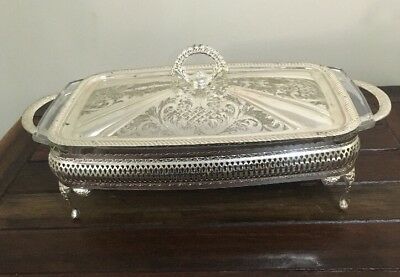 Queen Anne Silver plated Serving Tray Glass Casserole Dish Very Good Condition
