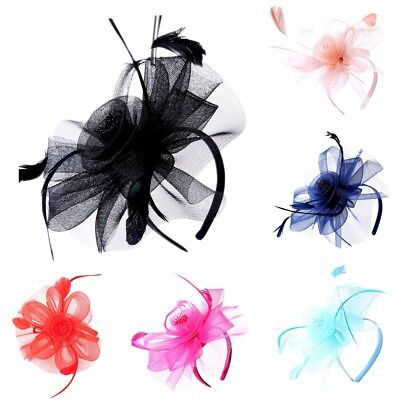 Ladies Flower Feather Looped Alice Head band Fascinator Day Wedding Royal Ascot