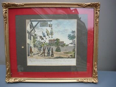 Antique 1860's rare hand coloured Hogarth engraved cartoon 'The Weighing House'