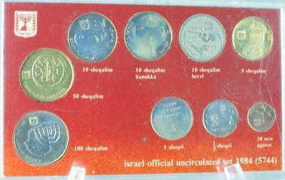 1984 Coins of Israel Official 9 Coin Uncirculated Mint Set in Plastic Case PK87