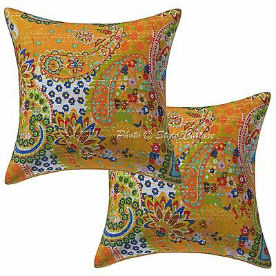 """Cotton Indian Printed Kantha Cushion Cover 16"""" Paisley Pillow Case Covers 2Pc"""