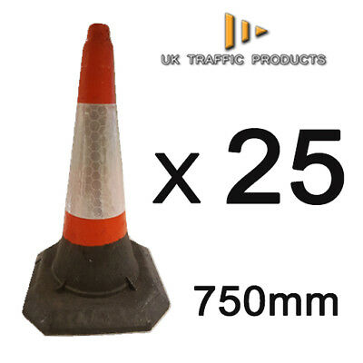 PACK OF 25 - HEAVY DUTY U.K Traffic Cones (Large - 750mm)