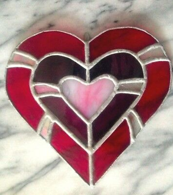 Ruby Red Stained Leaded Art Glass Window Hanging New Hampshire Valentine's Day