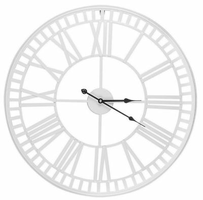 Oversized Large 60cm Skeleton Cut Out White Iron Roman Numeral Wall Clock K