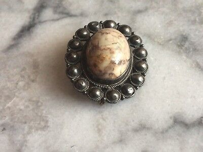 vintage sterling silver gorgeous Scottish Moss Agate Cabochon brooch Antique