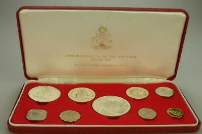 1974 Commonwealth of the Bahamas Coinage Proof Set Franklin Mint with Case PK88