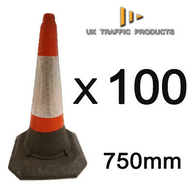 PACK OF 100 - HEAVY DUTY U.K Traffic Cones (Large - 750mm)