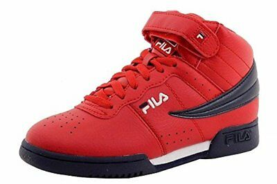3cd7ea3a6ba FILA BOY'S F-13 Black/White/Red Mid-Top Basketball Sneakers Shoes ...