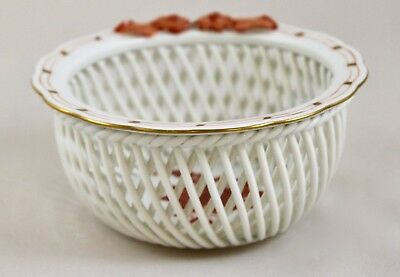 Herend Porcelain Chinese Bouquet Rust Aog Woven Basket 7376 1St