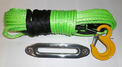 100 ft 10mm Synthetic Winch Rope & Hawse Dyneema SK75 Suits self recovery 4x4