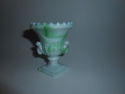 Vtg/Antique 1930's Akro Agate Vogue Merc Co NYC Slag Glass Toothpick Holder/Vase