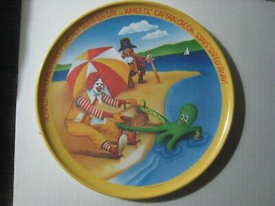 "1977 McDonald's 10"" Dinner Plate; Ronald on the Beach Saving the Day; Made U.S.A"