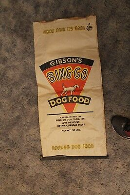 Gibson's Bingo Bing-Go Dog Food Bag Vintage Original Ottawa Kansas KS