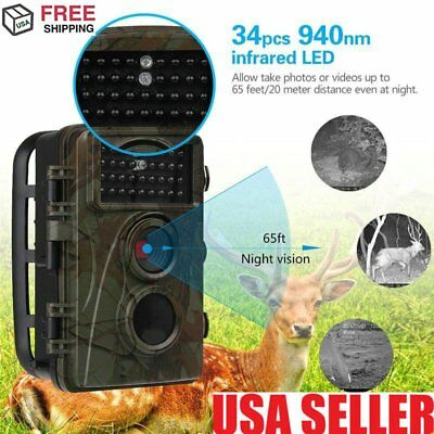 HD 12MP 1080P Hunting Trail Camera Video Scouting Infrared Game MMS EMAIL SMS QC