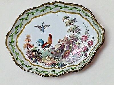 Samll Antique Sevres French Enamel Hand Painted Pin Tray With Chickens Rabbit