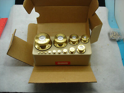 VINTAGE OHAUS 14 PIECE MASS SET OF SCALE WEIGHTS, NIB, 1000g TO 1g, W/RACK