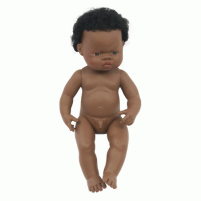 Miniland - Anatomically Correct Baby Doll 38cm - African Boy ( Undressed )