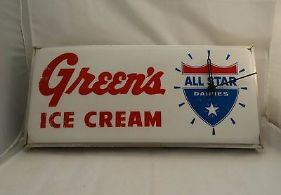 Vintage Green's All Star Dairies Light Up w/ Clock Sign