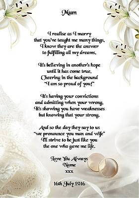 Wedding Day Thank You Gift Mother Of The Bride Or Groom Poem A5 Photo