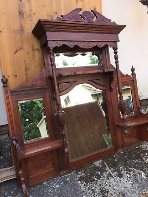 Antique Wood Chiffonier Back Potential Over Mantle Mirror For Large Fireplace