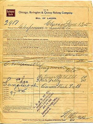 1905 Chicago, Burlington & Quincy Railway Co. Bill of Lading Receipt