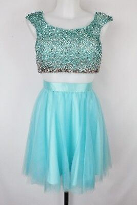 d3d0d930a1a5c TERANI COUTURE BEADED/SEQUINED Blue 2 Piece Top & Skirt Set Size 2 ...