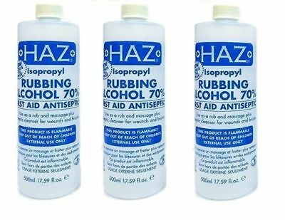 Haz Isopropyl Rubbing Alcohol 70% First Aid Antiseptic Body Wounds Bruises 500ml