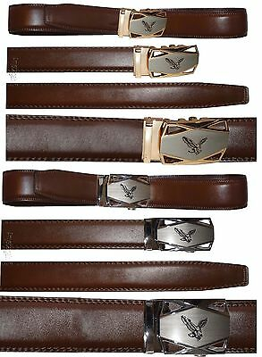 Men's belt Leather Dress Belt Click Comfort Automatic Eagle Buckle up to 43 inch