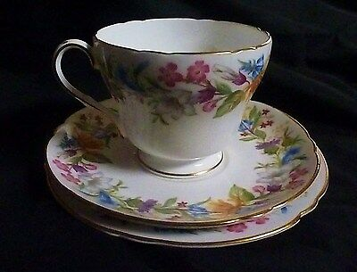 Shelley China Trio Cup Saucer Plate Spring Bouquet Pattern 1945 - 66 Stamp