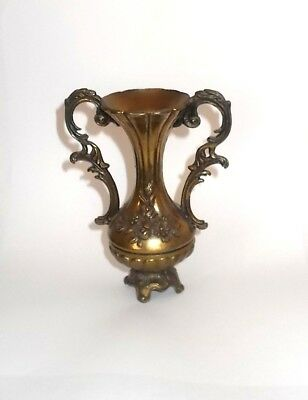 "Vintage Small Brass Urn w handles-Floral Decoration-Made in Italy-4-3/4"" Tall"