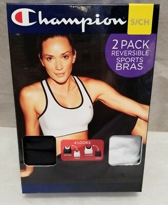 14af91baf NEW Champion 2 Pack Reversible Sports Bras Dry Tech Black White Various  Sizes