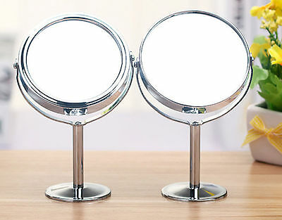 Double Sided Round Table Top Magnifying Mirror Cosmetic Makeup Shaving Swivel RR
