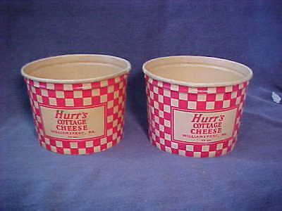 2  Vintage Hurr's Dairy Williamsport Pa. Cottage Cheese Wax Containers 12Oz.