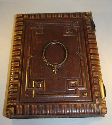 Beautiful Antique Tooled Leather Quality Victorian Photo Album 52 CDV Cards