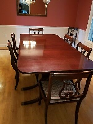 Vintage Drexel Dining Room Set 8 Chairs 5 Leafs And Buffet