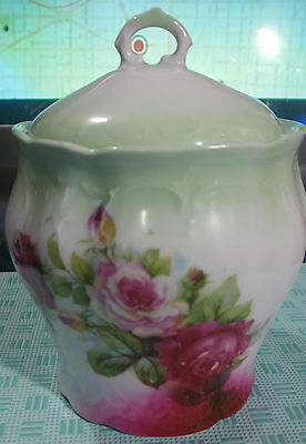 """Vintage Collectible """"light Green With Pink Roses Cookie Jar"""""""
