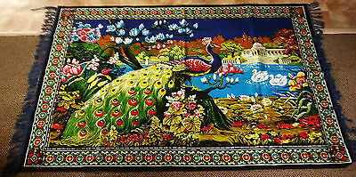 "Vintage  ""peackock Pattern Tapestry"" Wall Hanging Rug , Made In Turkey"