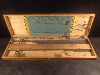 Antique 1800'S THE EASY SIGN MARKER Rule & Spacer SIGN MAKER Original Case RARE