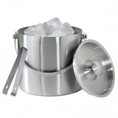 Large Double Walled Stainless Steel Insulated Ice Bucket With Tongs Lid 1.5 Ltr