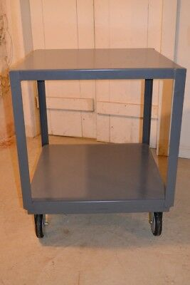 500pound Capacity Rolling Metal Cart 24 inch square two tier