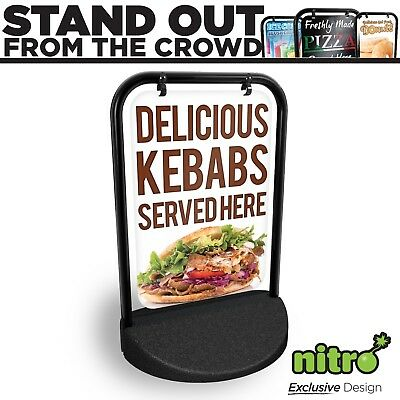 Kebab House Swinging Pavement Sign Outdoor Display Barbecue Take Away Just Eat