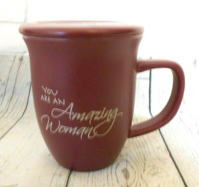 Abbey Gift You are an Amazing Woman Burgundy Lidded Ceramic Mug Proverbs 31:29