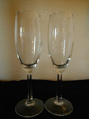 Crystal Champagne Fluted Wine Glass Etched Grapes & Vine FREE SHIP!