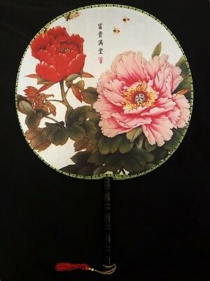 Chinese Japanese Oriental Peony Flowers Canvas Wooden Handle Hand Fan ccfan76