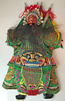 """Vintage Ornate Embroidered Silk Chinese Theatre Opera Doll Hand Puppet 18"""""""