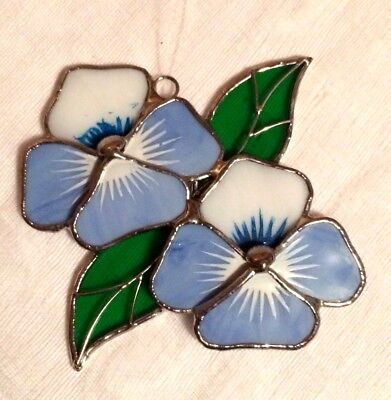 Blue & White Hibiscus Flower Stained Glass Suncatcher Floral Green Leaves
