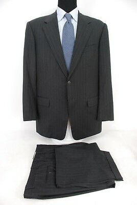 Pal Zileri Italy 2Btn Suit Charcoal Gray Pinstripe Wool Men's 46L